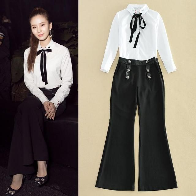 High Quality New Clothing Fashion Women's Set 2016 Ladies White Shirt+Black Pant Trousers(1Set) Elegant Work Suit Business Wear