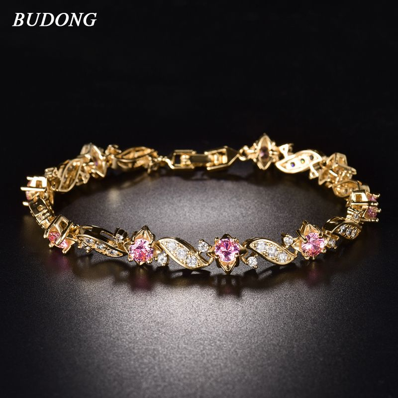 BUDONG 18cm Fashion Hand Bracelets for Women Silver/Gold Color Bracelet Pink Crystal Cublic Zirconia Jewelry Bangles XUL104