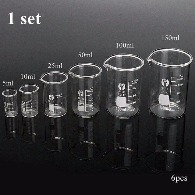 Pcs/set Graduated Borosilicate Glass Beaker Volumetric Measuring Glassware Chemistry Experiment Tool For Laboratory Supplies