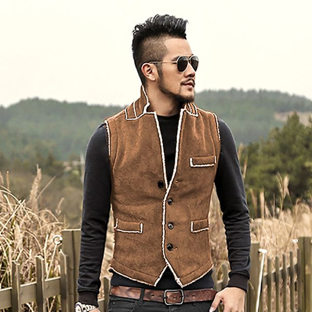 Casual Men Brown Vest Slim Fit cotton Waistcoat Winter Warm Men single breasted Vest Mens Jacket Sleeveless veste homme 2017 New
