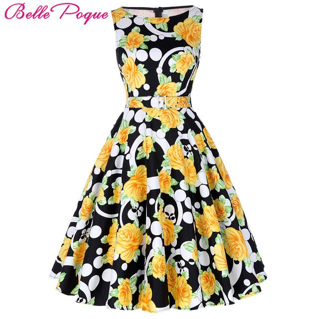 Belle Poque Print Floral 50s Vintage Dresses Audrey Hepburn 2018 Women Summer Retro Dress vestidos robe Womens Casual Clothing