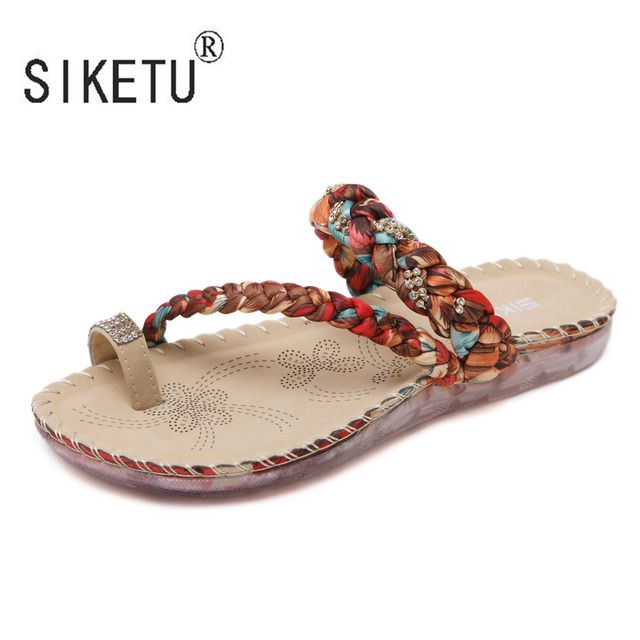 2017 Women Summer Bohemia Sandals Rhinestones Leisure Beach Shoes Clip Slippers 35-42 SIKETU Brand