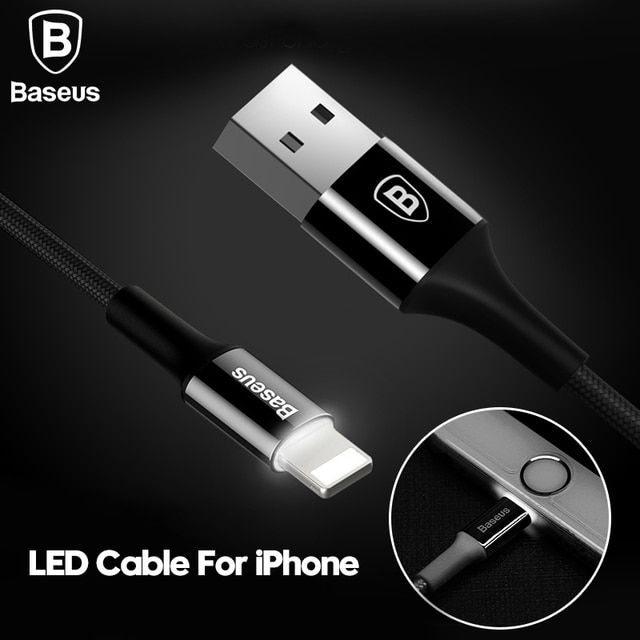 Baseus LED Charger Cable For iPhone 8 7 6 USB Data Cable For iPhone X iPad 2A Fast Charger Cable LED lighting Mobile Phone Cable