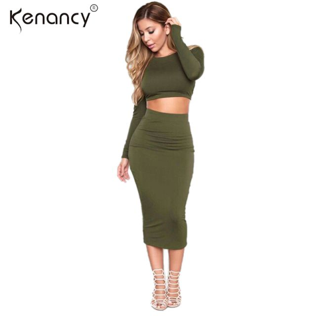 Women Autumn Knitted Set Skirt and Knit Crop Top Long Sleeve Backless Cross Stap Bodycon Bandage Pencil 2 piece Dress Sets
