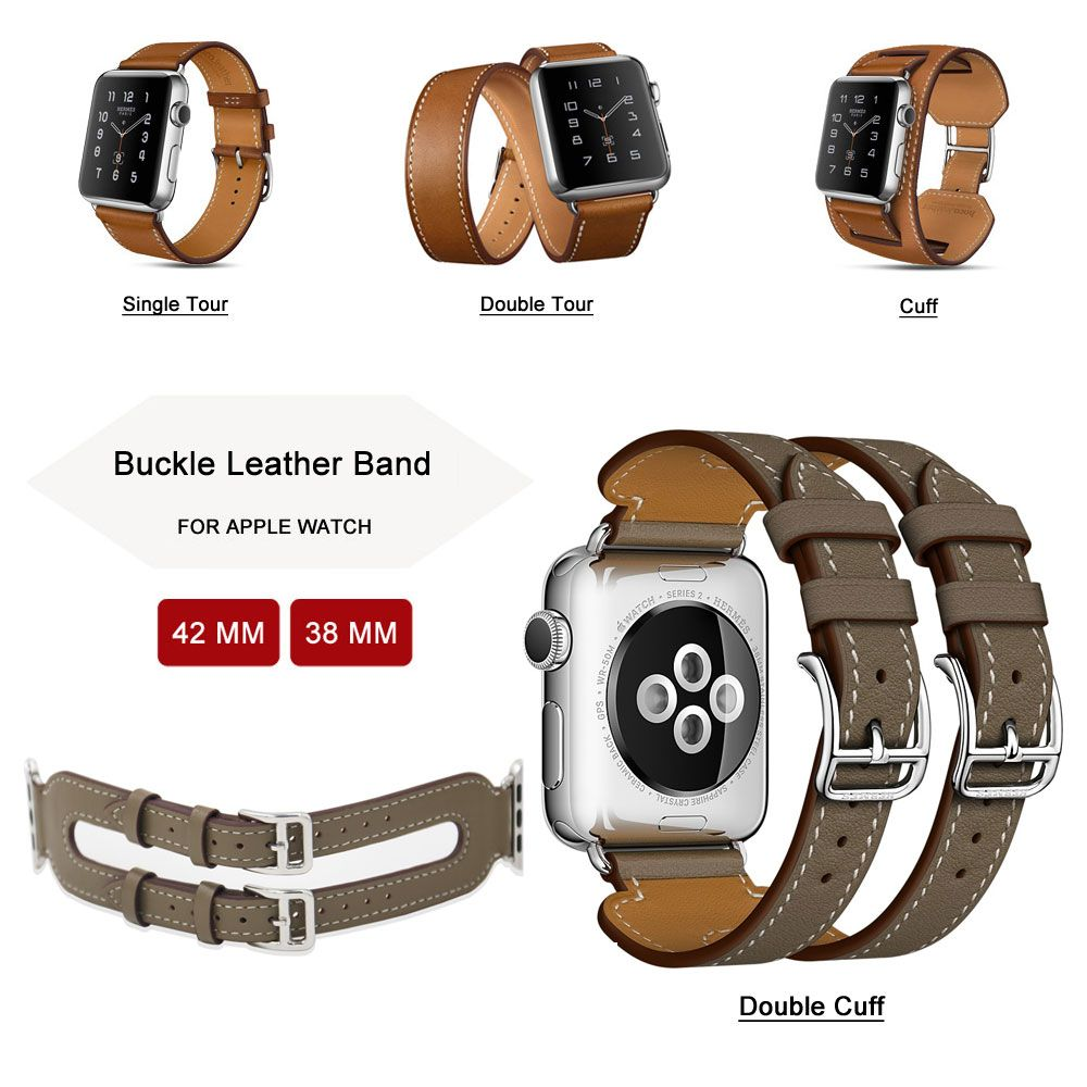 42MM Genuine Leather Strap For Apple Watch Band Single Tour / Double Tour / Cuff Leather Band for Apple Watch Series 3/2/1