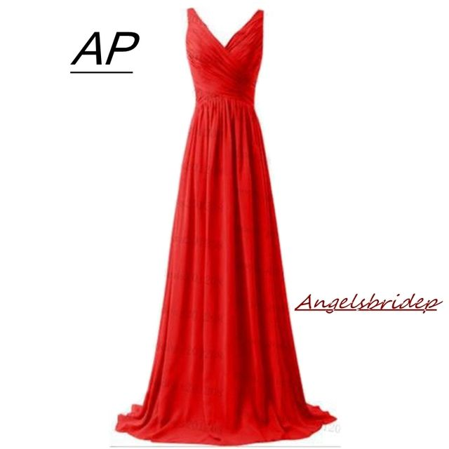 ANGELSBRIDEP Chiffon V-Neck Bridesmaid Dresses Vestido Largo Fiesta Boda Ruffle Bodice Full-Length Formal Party Celebrity Gowns