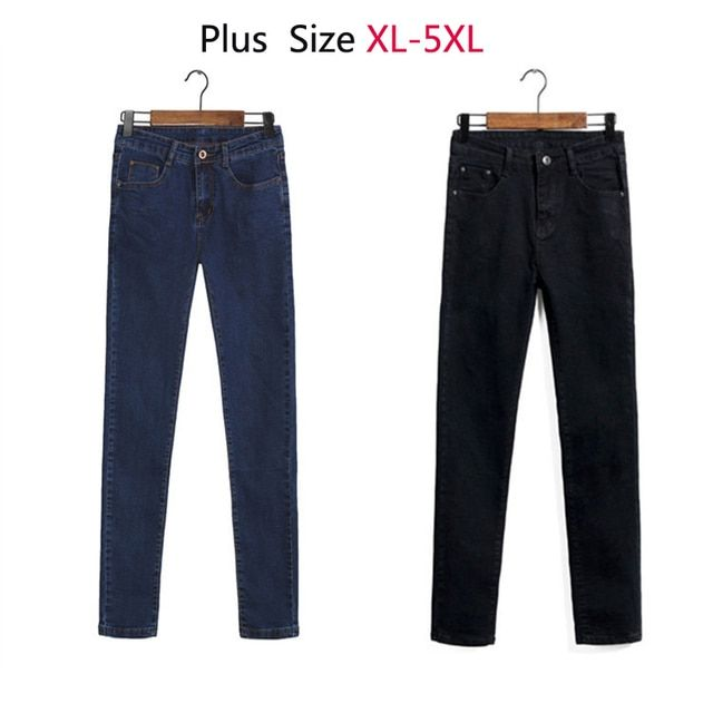 2016 New Plus Size Jeans Women 4XL Pants Mujer Skinny Light Denims Elastic Feminino High Quality Free Shipping P1010