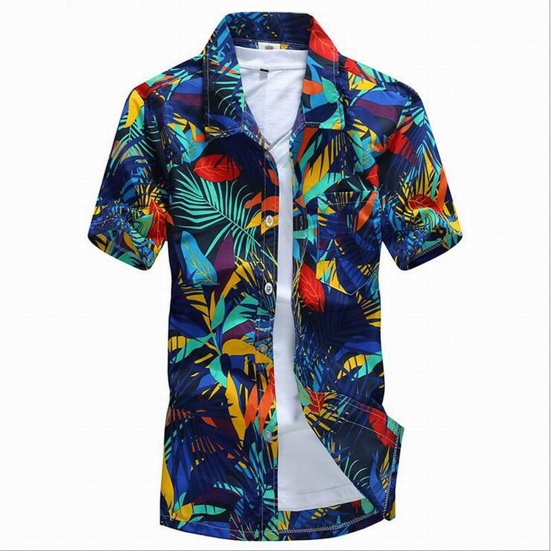 2016 Hawaii Style Men Floral shirts Sandy beach Summer Camise Short Sleeve Fit Men shirts Printing Shirt Plus size 4XL D5158