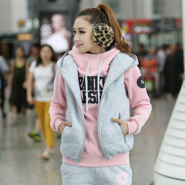 2016 Winter Three-piece Sweatershirts Suit thicken fleece lining hooded hoodies hoody set women's leisure Tracksuits Plus size