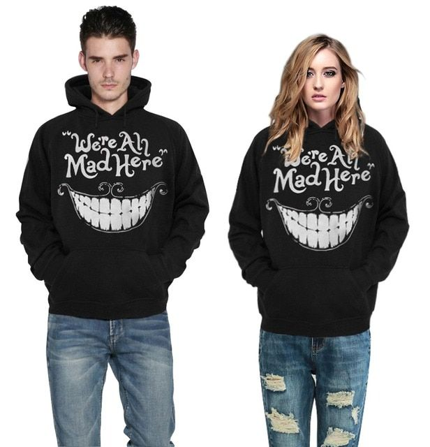Adogirl Sudaderas Mujer Digital Hooded Sweatshirt we're all mad here Hoodies Men/Women Couple Clothing Casual Pullovers