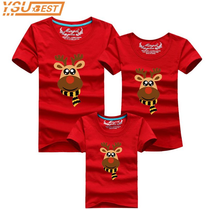 Family Look Cartoon Elk Christmas Deer Summer T shirts 2019 Family Matching Outfits T Shirt Fashion Cotton Children Clothing