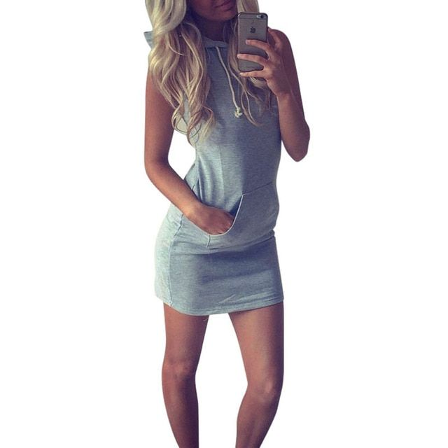 Hot 2016 Summer Women Ladies Casual Shirt Hooded Dress Sundress robe Vintage Sexy Slim Bodycon Party Night Club Dresses Z2