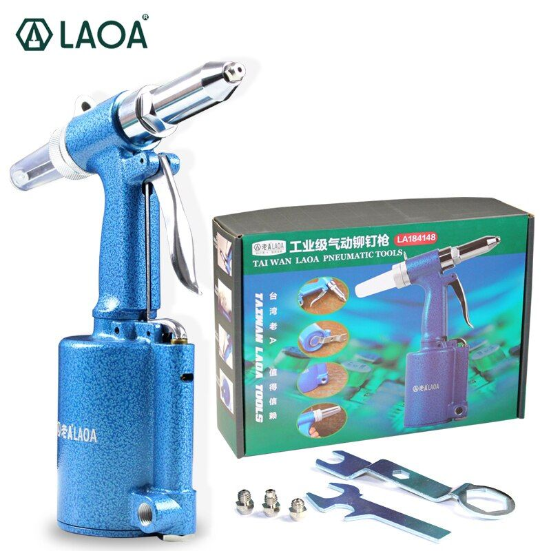 LAOA Industrial Grade Cordless Pneumatic Rivet Gun Hitter Riveter Air Gun Work ability 2.4mm/3.2mm/4mm/4.8mm Work Range 16mm