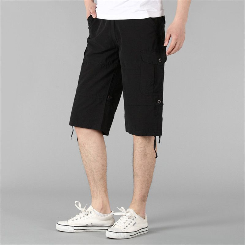 Big Size 2016 Summer Quick Dry Plus Size Cargo Shorts Men Black Knee Length Elastic Waisted Drawstring Male Casual Shorts