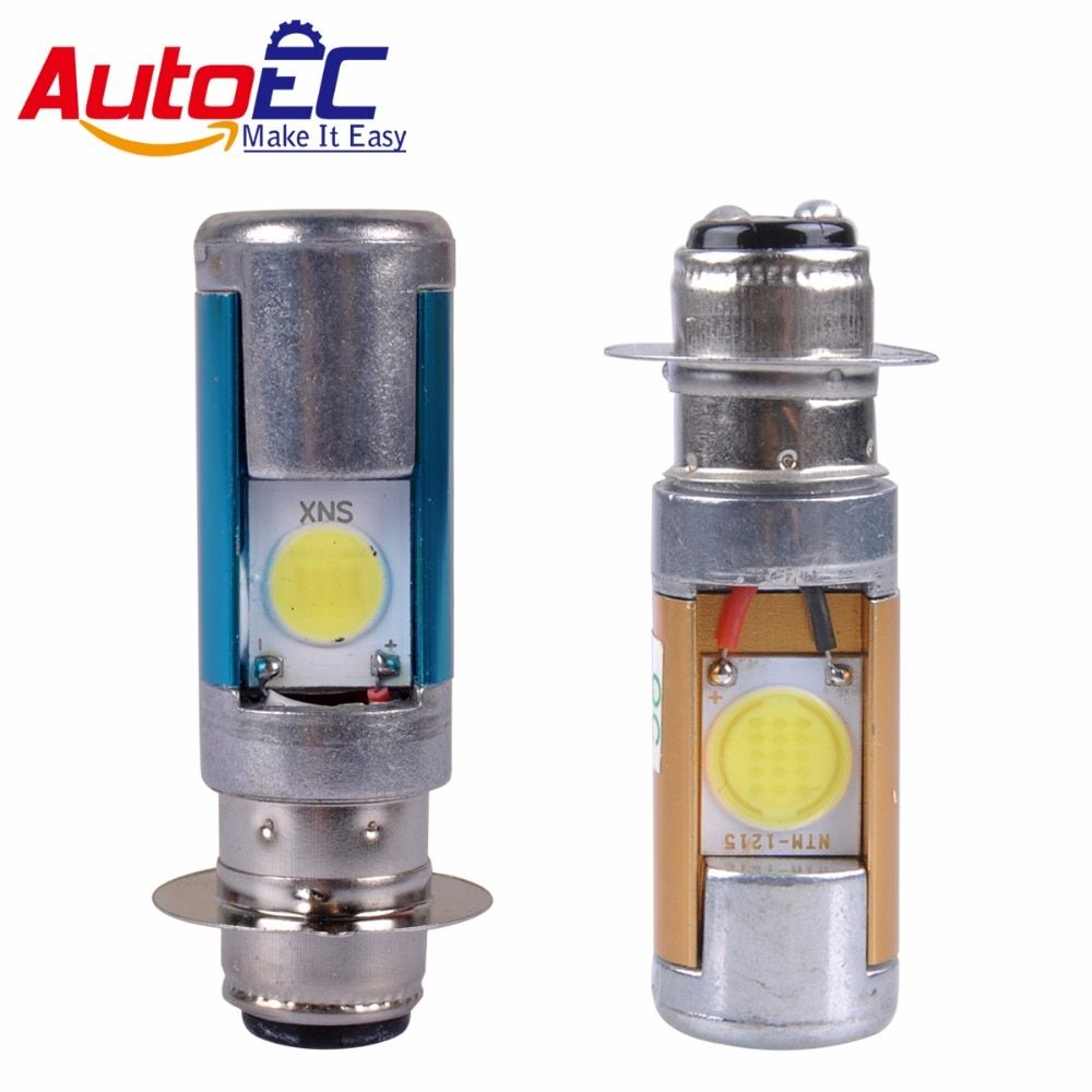 AutoEC 50pcs Px15d P15d-25-1 6.5w  LED COB Motorcycle Headlight bulb DC12v Motorbike head lights White wholesales #MTL021