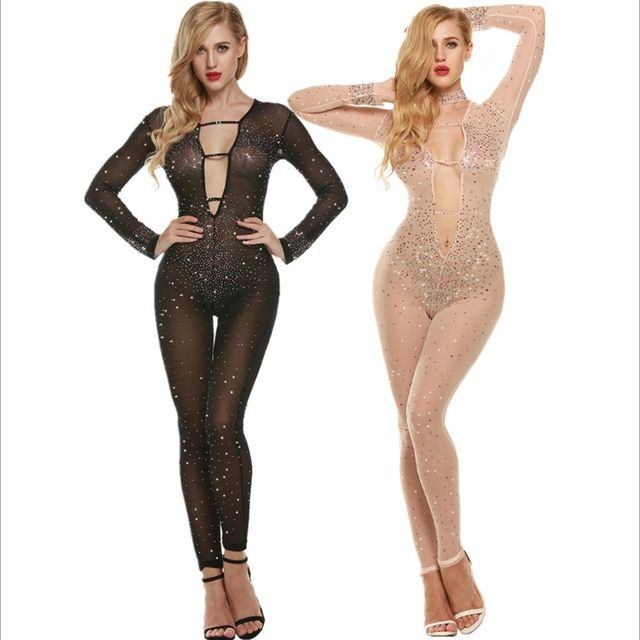 Female Jumpsuits Sexy Transparent Beaded Long Sleeve Deep V Neck Hollow Out Rompers Club Hip Hop 2016 Womens Jumpsuit Feminino