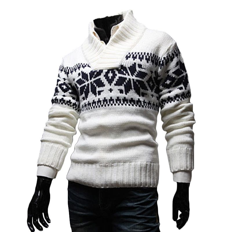 Men Snowflake Christmas Sweater Winter knitted Sweater V-Neck Casual Knit Jumpers Pullovers Homme Warm Outwear knit jacket