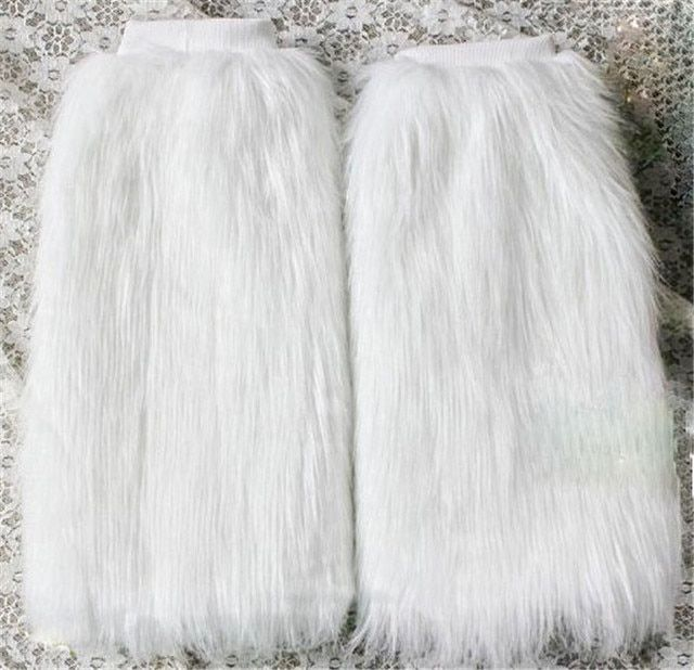 New Winter Women's  Faux Fur Furry Leg Warmers Boots Cuffs Toppers Leg Warmers Gaiters Socks