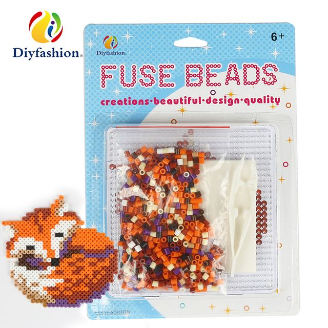 Hot sale 5mm hama beads sleeping fox set withperler fuse beads puzzle iron paper and twezzer 3d puzzle diy toys for kids