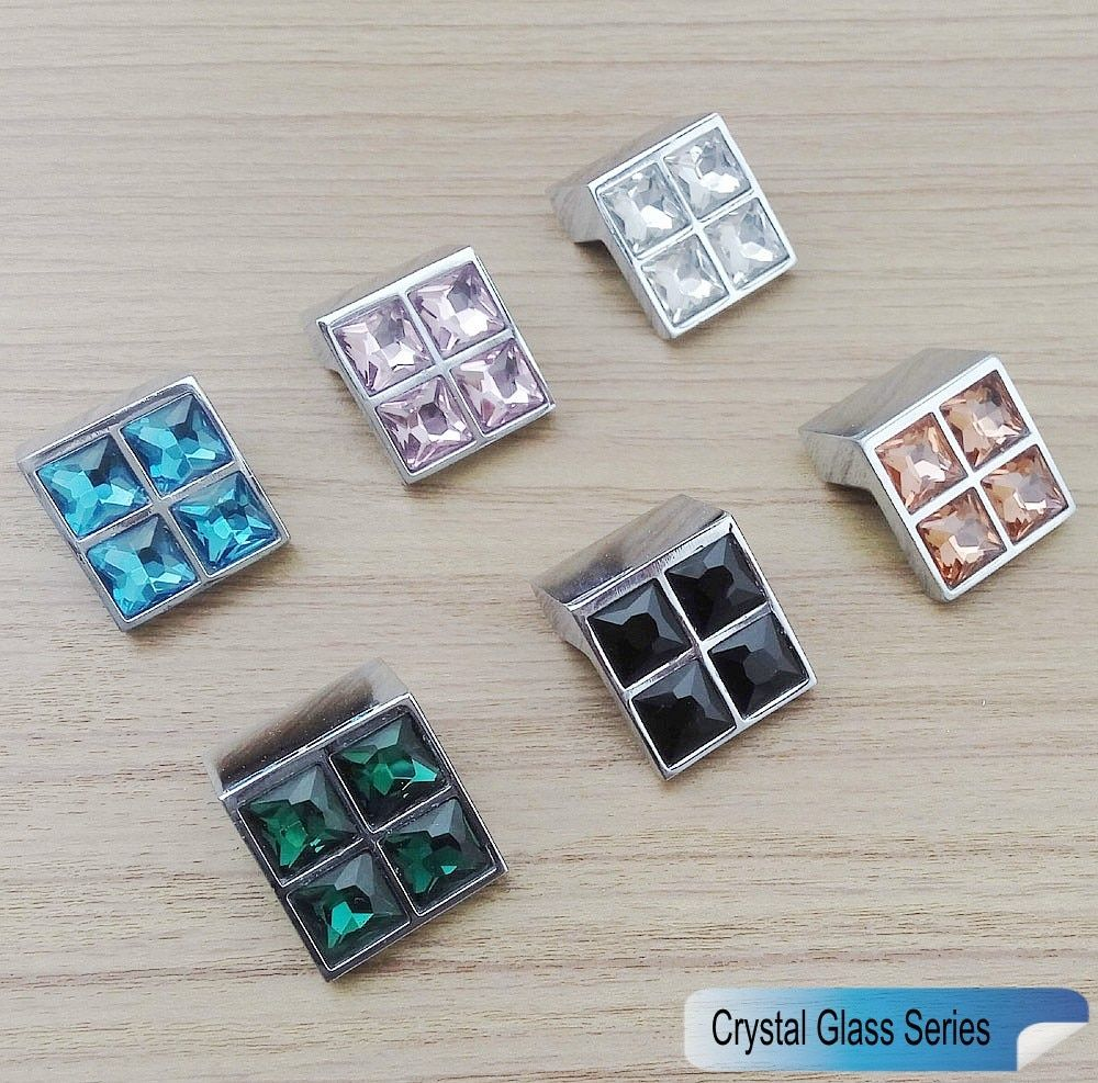Crystal Glass Series 3D Diamond Knobs Furniture Small Door Drawer Color Handle Wardrobe Kitchen Cabinets Cupboard Pull Door Knob