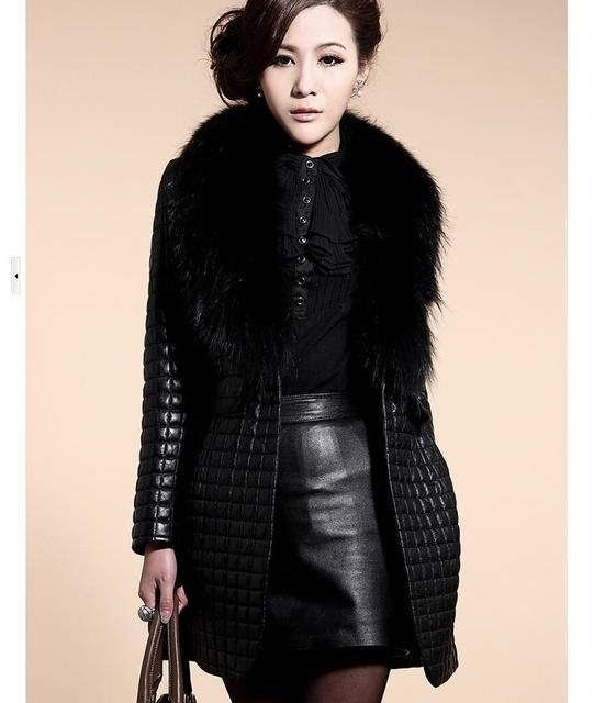 Ms new Winter large raccoon fur collar  Leather grass Mianfu Coats  Slim PU leather jacket  equipment  Sweatshirts JW913