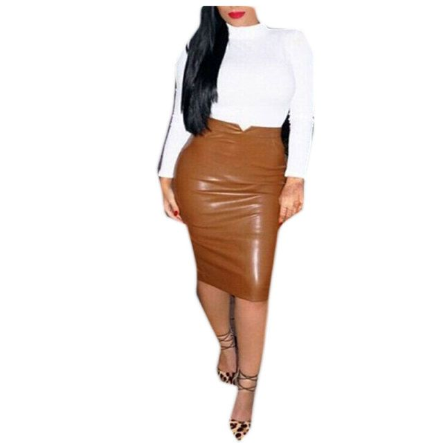 Women Artificial Soft PU Leather Sexy Classic Retro Pencil Skirt Ladies High Waist Bodycon OL Midi Half Skirt Clubwear Plus Size