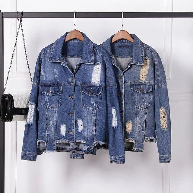 2017spring new European style street fashion loose big yards long sleeve square neck hole to do the old denim jacket coat female