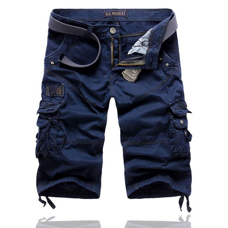 Top Sell Men's Cargo Shorts Cropped Trousers Multi-pocket High Quality Solid Men Casual Loose Tooling Short Pants 6 Colors 29-38