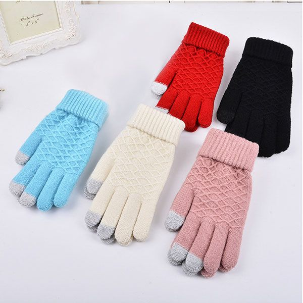 2017 Fashion Winter Warm Vogue Solid Knitted Full Finger Gloves Mittens For Smart Phone Touch Screen -MX8