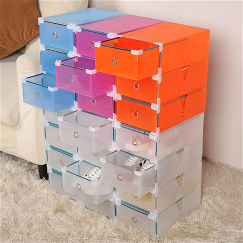 5PCS Eco-Friendly Shoe Storage Box Case Transparent Plastic Storage Box Rectangle PP Shoe Organizer Thickened drawer Shoe Box