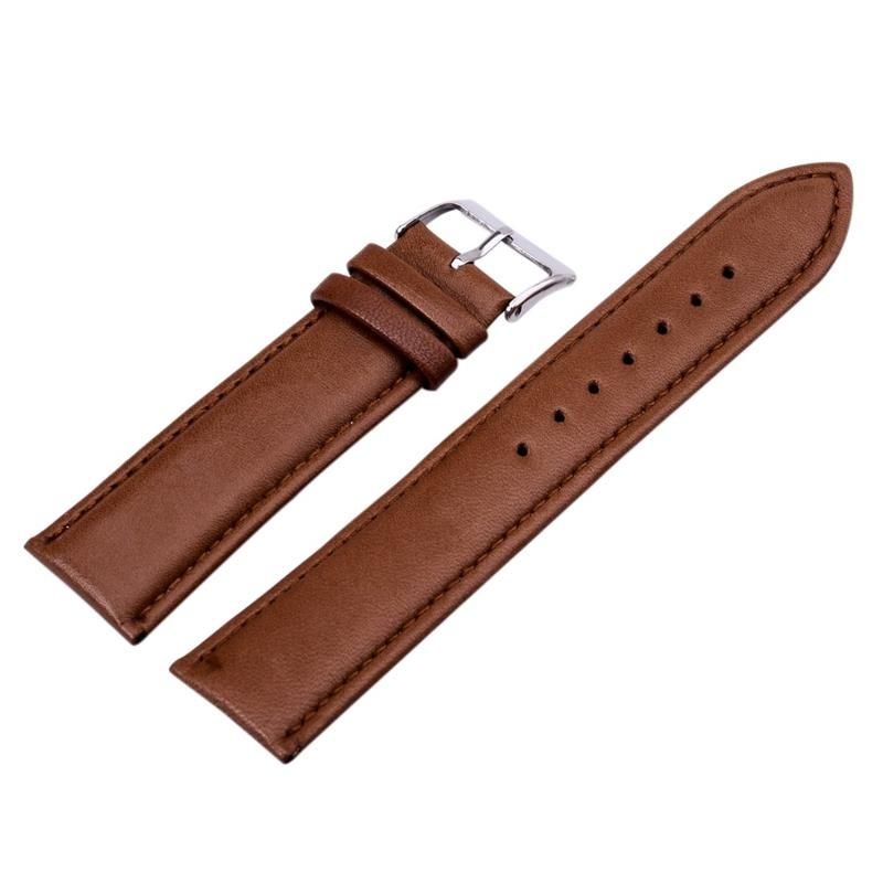 12mm 14mm 16mm 18mm 20mm 22mm 24mm PU Leather Brown  WatchBands Stainless Steel for Men & Women Brand Watch Leather Strap