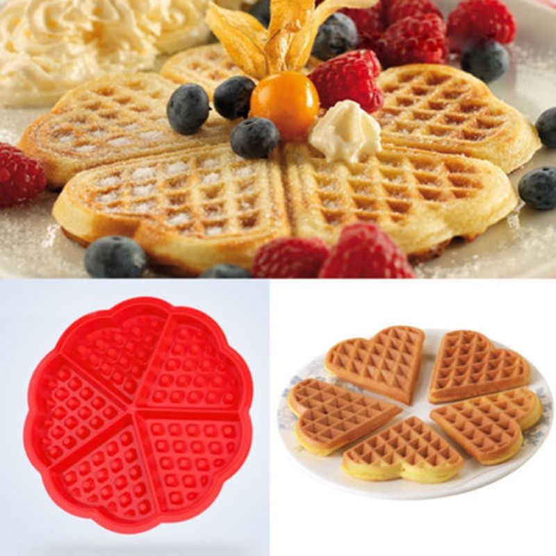 5-Cavity Waffles Cake Chocolate Pan Silicone Bakeware Baking Mould Donut Maker, Silicone Waffles Muffins Form Mold Baking Tool
