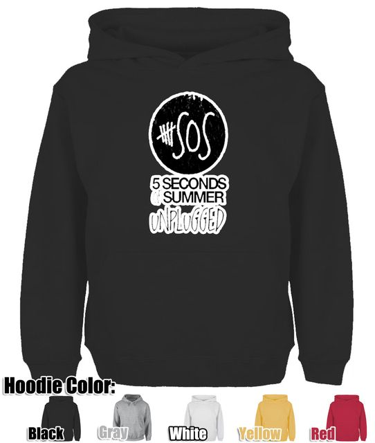 Cute 5 Seconds Summer Unplugged SOS Design Hoodie Men's Boy's  Women's Lady's Girl's Sweatshirt Tops Size S.M.L.XL.XXL.XXXL