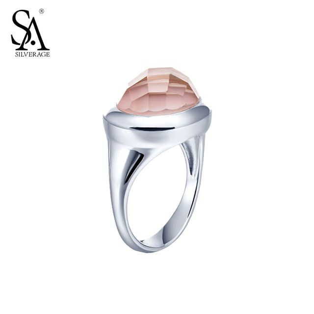 SA SILVERAGE Real 925 Sterling Silver Shell Rings Fine Wedding Jewelry Women Pink Stone 2017 Hot Sale