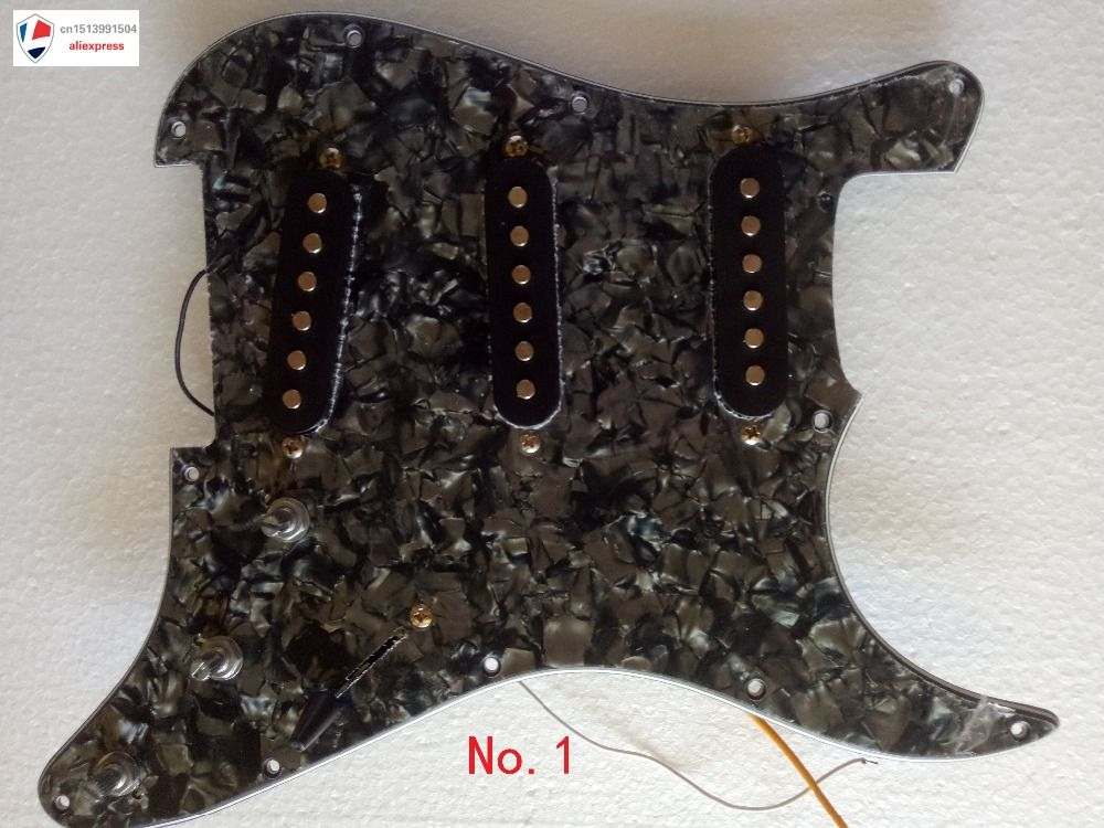 2017 NEW Guitar Pickguard 3-ply SSH Loaded Prewired Humbucker Pickguard Pickups Set for Electric Guitar Black Pearl