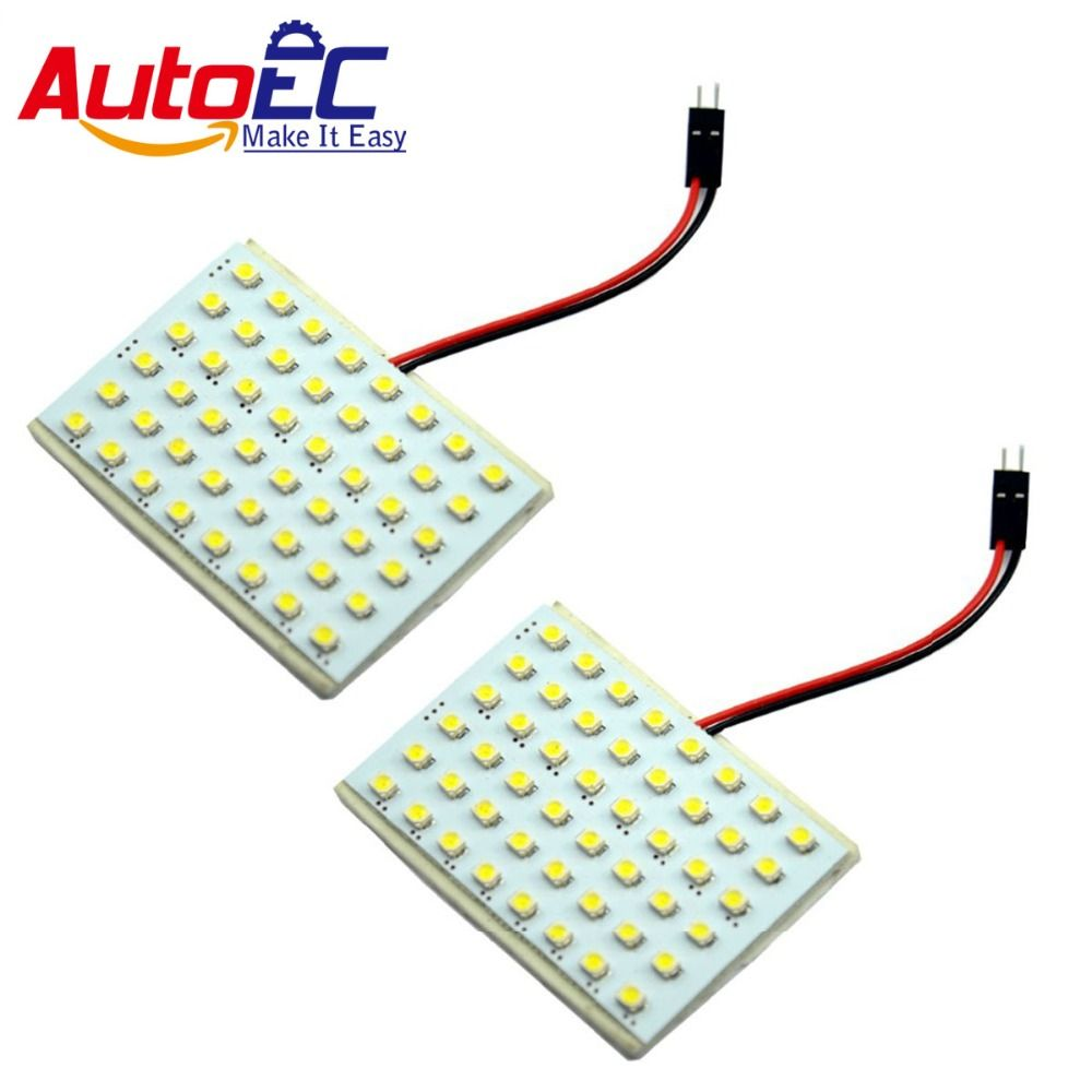 AutoEC 10X Led Panel Light 48 SMD 1210 3528  LED 3 adapter Festoon T10 ba9s Car Roof  Reading light #LL06