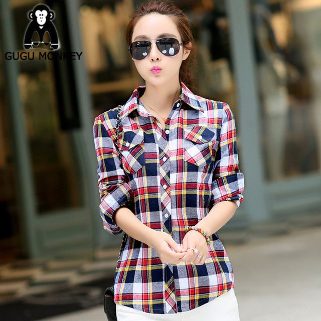 New Spring 2016 MS Long Sleeved Plaid Shirt Lapel Brushed Cotton Dress Women  Thick Shirts Women Blouse NCS010