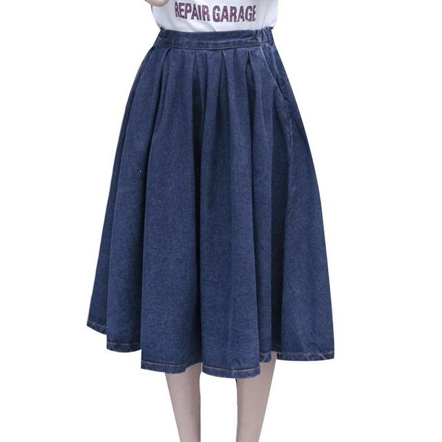 Summer BF Style Long Pleated Denim Skirt Street Skirts Womens 2017 Solid All-match Fashion Plus Size Elastic Waist Skirt Faldas