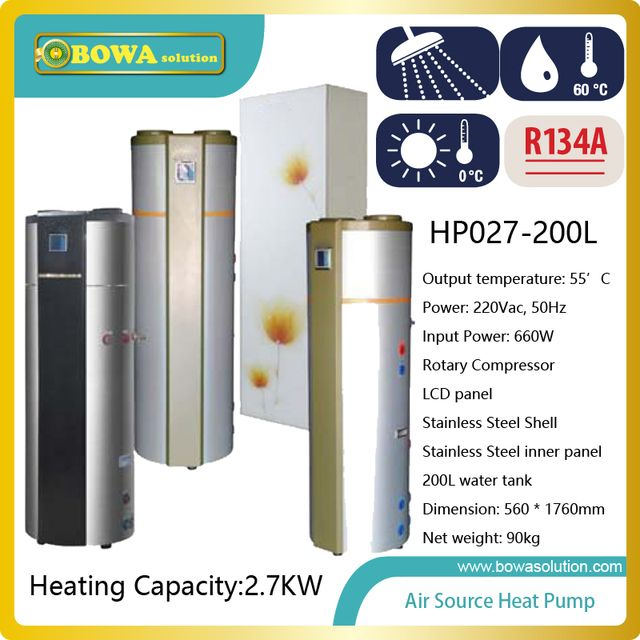 2.7KW air source heat pump water heater with 200L volume SUS304 stainless steel tank suitable for resturant kitchen