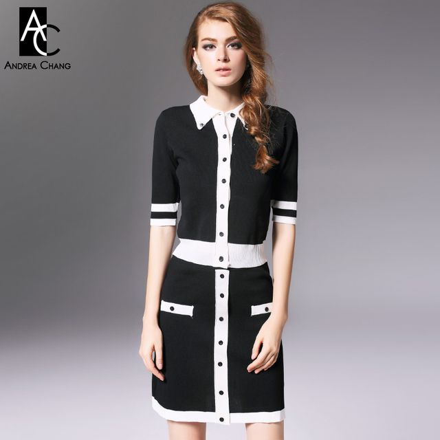 autumn winter runway designer womens clothing set black white patchwork knitted sweater skirt suit buttons fashion brand suit