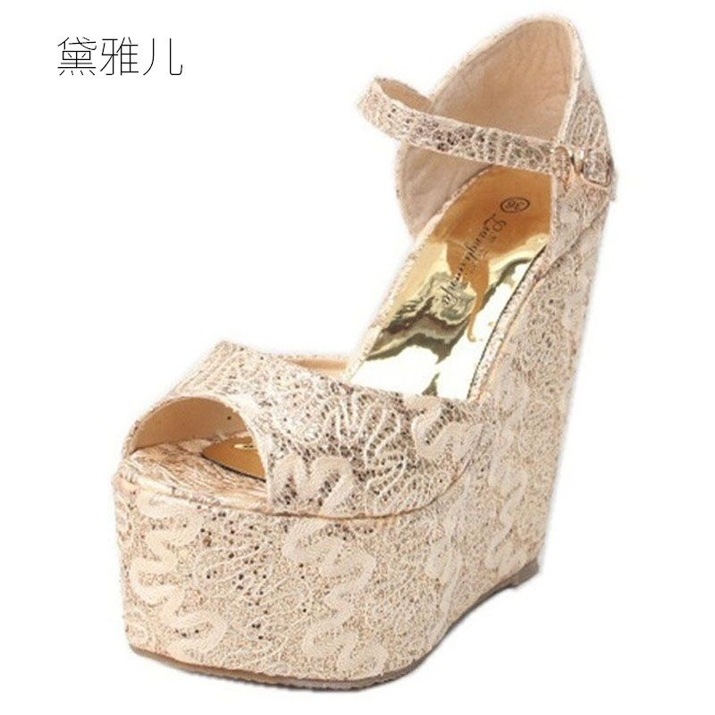 2018 Plus Small Size 30-43 Gold Summer Style Sexy Wedges High Heels Sandals for Women's with Shoes Woman Wedding Dress Ladies