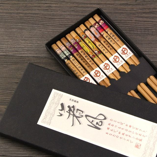 Visual Touch zakka Family Bamboo Japanese Chopsticks Set for Grandpa Grandma Father Mother Child Sets Valued Gift Pack