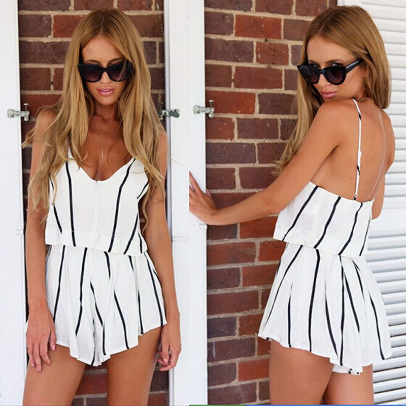 2017 New Fashion Sexy Women Two Pieces Summer Sets Black White Stripe Sleeveless Backless Slim Tops+Short Pants Plus Size Cloth