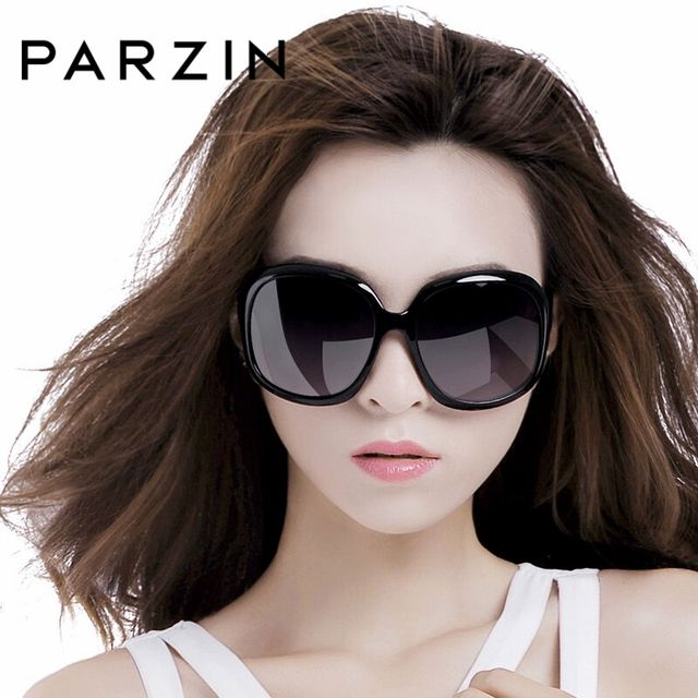 PARZIN Women Brand Designer Sunglasses Square Elegant Female Spectacles Big Frame Driving Sun Glasses With Logo Box 6216