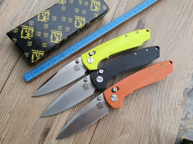 2016 Latest design JIAHENG JH04 F3 Bearing system Floding knife D2 blade G10 handle outdoor survival hunting camping tool OEM