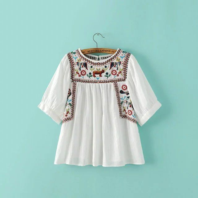 Women's Tunic Embroidered Peasant Tops Mexican Bohemian Blouses