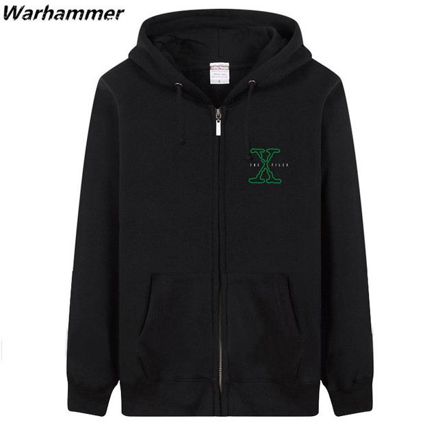 Men Hoodie The X-Files Fleece Cotton Letter Printed Zipper Autumn Winter Womens Pullover Hoodie Big Size Loose Style Black Hoody
