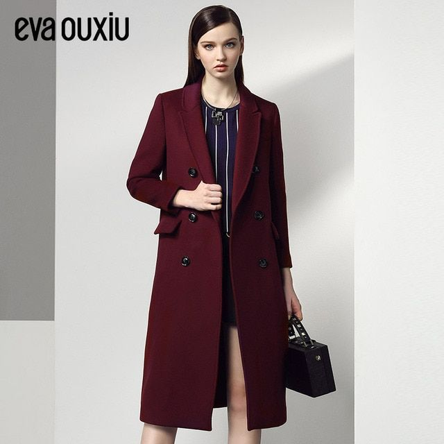 Evaouxiu Women Wool Coat Double Breasted Peacoat Fall Winter Solid Color Trench Coat Back Split Black Burgundy