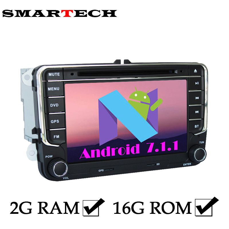 SMARTECH 2Din VW Autoradio 2G RAM Android 7 Car DVD Player For Volkswagen POLO PASSAT B6 EOS Golf Bora CanBus Wifi GPS Radio RDS