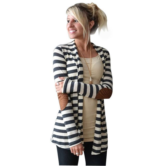 Casacas Mujer Manteau Hiver Femme Casual Long Sleeve Women Jackets Striped Cardigans Patchwork Blouson Femme